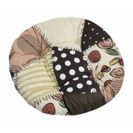 Bellatex sedák kulatý prošívaný Gita hnědý patchwork