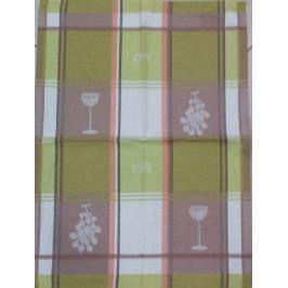 Utěrka bavlna plátnová 48 x 68 cm víno zeleno béžové