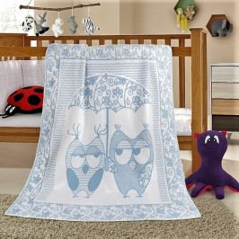 Bellatex dětská bavlněná deka Nela 100x140 cm sova modrá
