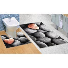 Bellatex koupelnové předložky 3D tisk tmavé kameny sada 60x100+60x50 cm