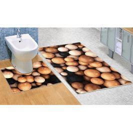 Bellatex koupelnové předložky 3D tisk dřevěné koule sada 60x100+60x50 cm