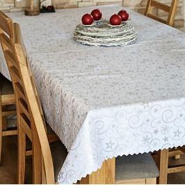 Polášek Ubrus vánoční bílý hvězdy a vločky 100x130 cm