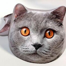 Dětský polštářek 3D kočka šedá