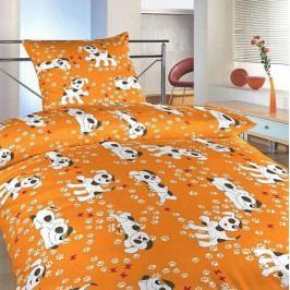 Dadka povlečení krep do postýlky Pejsci oranžoví 90x130, 45x60 cm