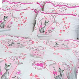 Stanex povlečení bavlna kočičky růžové (LS332) 140x200+70x90 cm
