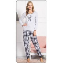 Dámské pyžamo dlouhé Sova s čepicí Velikost S, Barva světle šedá