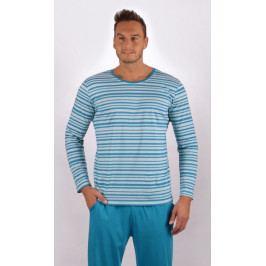Pánské pyžamo dlouhé Robert Velikost M, Barva tyrkysová