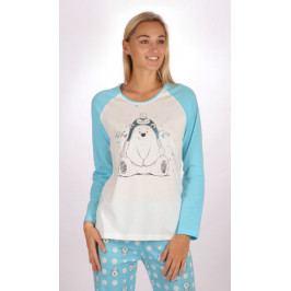 Dámské pyžamo dlouhé Méďa Hug me Velikost S, Barva lososová