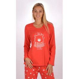 Dámské pyžamo dlouhé Méďa Smiler Velikost S, Barva červená