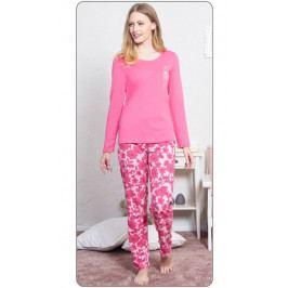 Dámské pyžamo dlouhé Klára Velikost XL, Barva tmavě růžová