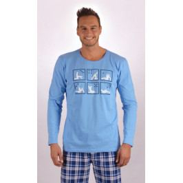 Pánské pyžamo dlouhé Kamasutra Velikost M, Barva světle modrá