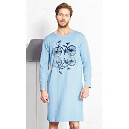 Pánská noční košile s dlouhým rukávem Velociped Velikost S, Barva světle modrá