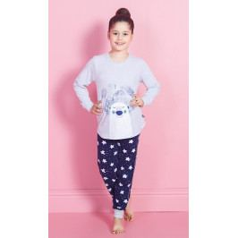 Dětské pyžamo dlouhé Méďa Ospalec Velikost 7 - 8, Barva světle šedá