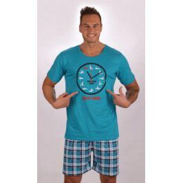 Pánské pyžamo šortky Kamasutra clock Velikost M, Barva tyrkysová
