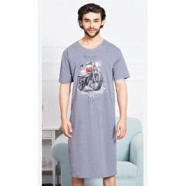 Pánská noční košile s krátkým rukávem Motorka Velikost M, Barva šedá