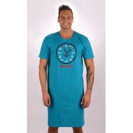 Pánská noční košile s krátkým rukávem Kamasutra clock Velikost M, Barva tmavě tyrkysová