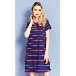 Dámské domácí šaty s krátkým rukávem Proužek Velikost S, Barva tmavě modrá/korálová