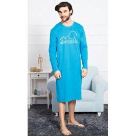 Pánská noční košile s dlouhým rukávem Bear Velikost M, Barva tyrkysová