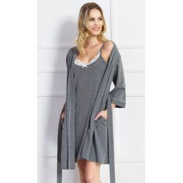 Dámský župan s noční košilí na ramínka Kate Velikost S, Barva tmavě šedá