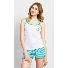 Dámské pyžamo šortky na ramínka Summer Velikost S, Barva bílá/azurová