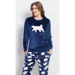 Dámské pyžamo dlouhé Méďa Velikost S, Barva tmavě modrá