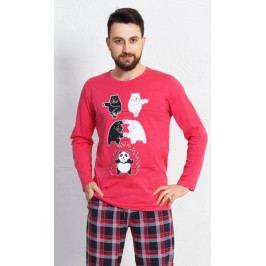 Pánské pyžamo dlouhé Panda Velikost M, Barva korálová