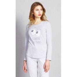 Dámské pyžamo dlouhé Oči Velikost XL, Barva šedá
