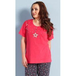 Dámské pyžamo kapri Hvězda Velikost 1XL, Barva světle růžová