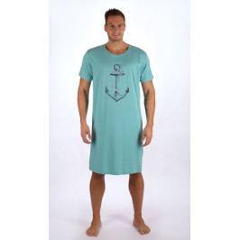 Pánská noční košile s krátkým rukávem Velká kotva Velikost M, Barva světle modrá