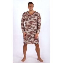 Pánská noční košile s dlouhým rukávem Army Velikost M, Barva hnědá
