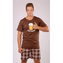 Pánské pyžamo šortky Velké pivo Velikost 2XL, Barva hnědá
