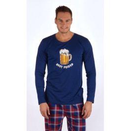 Pánské pyžamo dlouhé Velké pivo Velikost 2XL, Barva tmavě modrá
