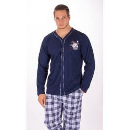 Pánské pyžamo dlouhé Richard Velikost M, Barva tmavě modrá