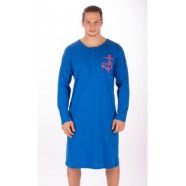 Pánská noční košile s dlouhým rukávem Kotva Velikost M, Barva tmavě modrá
