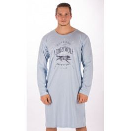 Pánská noční košile s dlouhým rukávem Vlk Velikost S, Barva světle modrá