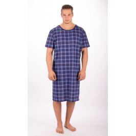 Pánská noční košile s krátkým rukávem Kostka Velikost M, Barva modrá