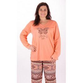 Dámské pyžamo dlouhé Velký motýl Velikost 2XL, Barva meruňková