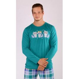 Pánské pyžamo dlouhé Mývalové Velikost XL, Barva námořnická modrá