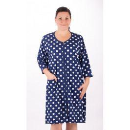 Dámské domácí šaty s tříčtvrtečním rukávem Puntík Velikost 1XL, Barva tmavě modrá