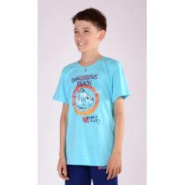 Dětské pyžamo kapri Piraňa Velikost 9 - 10, Barva šedá/modrá