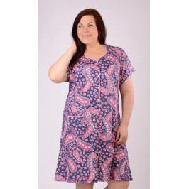 Dámské domácí šaty s krátkým rukávem Fatima Velikost 1XL, Barva tmavě modrá