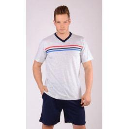 Pánské pyžamo šortky Pruhy Velikost M, Barva šedá