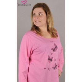 Dámské pyžamo dlouhé Motýli na louce Velikost 1XL, Barva světle růžová