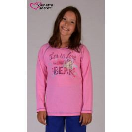 Dětské pyžamo dlouhé Bear Velikost 9 - 10, Barva jahodová