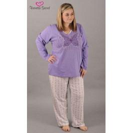 Dámské pyžamo dlouhé Motýl Velikost 1XL, Barva jahodová