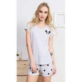 Dámské pyžamo šortky Panda Velikost S, Barva světle šedá