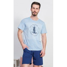 Pánské pyžamo šortky Maják Velikost M, Barva světle šedá