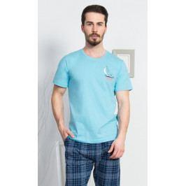 Pánské pyžamo kapri Malá plachetnice Velikost M, Barva světle tyrkysová