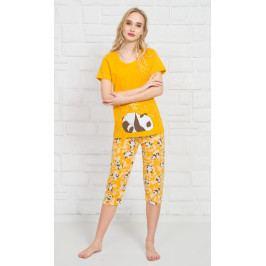 Dámské pyžamo kapri Panda Star Velikost S, Barva žlutá