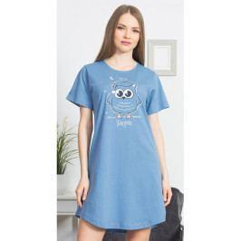 Dámská noční košile s krátkým rukávem Sova s čepicí Velikost 1XL, Barva šedomodrá